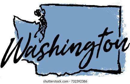 Hand Drawn Washington State Design