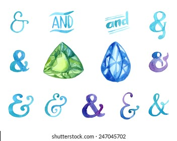 Hand drawn watercolor ampersands and gemstones set for your design