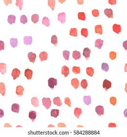 Hand drawn watercolor background. Vector seamless pattern with random colorful stains in red, pink and purple.