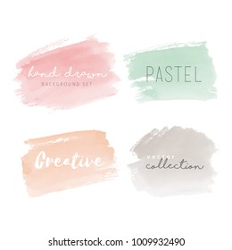 Hand drawn watercolor backgrounds in pastel colors