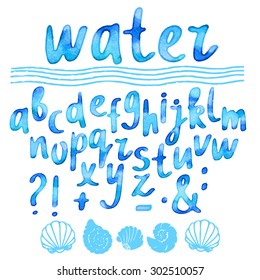 Hand drawn watercolor blue alphabet, font, letters. Handwritten, word water, waves, sea shells isolated on white background