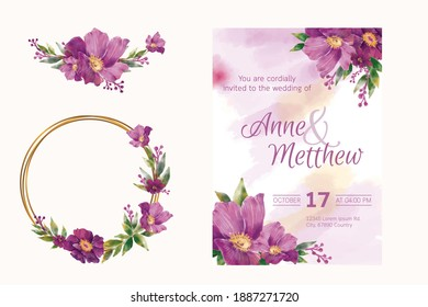 Hand drawn watercolor bouquet. Design with gold circle frame and invitation card, vector.