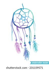 Hand drawn watercolor ethnic illustration with American Indians dreamcatcher. Vector EPS.