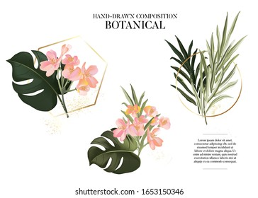 Hand drawn watercolor exotic plants set. Realistic leaves and colorful Tropical flowers design with gold frame and  text elements, luxury logo, branding template design. Paradise party art in vector