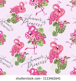 Hand drawn watercolor flamingo pattern. Seamless background with pink flamingo with crown - tropic princess. Fashion decoration with exotic birds and tropical monstera, flowers on white backdrop.