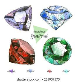 Hand drawn watercolor gemstones