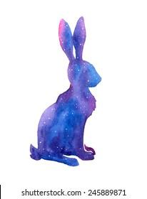 Hand drawn watercolor hare illustration.