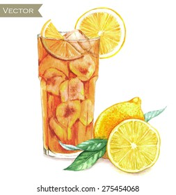 Hand drawn watercolor illustration of fresh ice tea with yellow lemons isolated on the white background