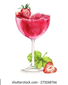 Hand drawn watercolor illustration of summer fresh cocktail with strawberries. Isolated on the white background, in vector