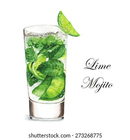 Hand drawn watercolor illustration of summer fresh cocktail Mojito. Isolated on the white background, in vector