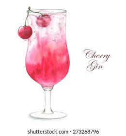 Hand drawn watercolor illustration of summer fresh cocktail Cherry Gin. Isolated on the white background, in vector