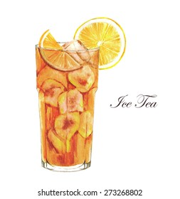 Hand drawn watercolor illustration of summer Ice Tea with lemon. Isolated on the white background, in vector