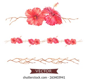 Hand drawn watercolor illustration of tropical decorative elements and borders with hibiscus flowers