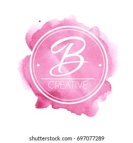 Hand drawn watercolor logo template for your brand. Vector illustration for graphic and logo design.