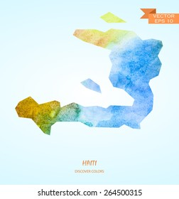 hand drawn watercolor map of Haiti isolated. Vector version