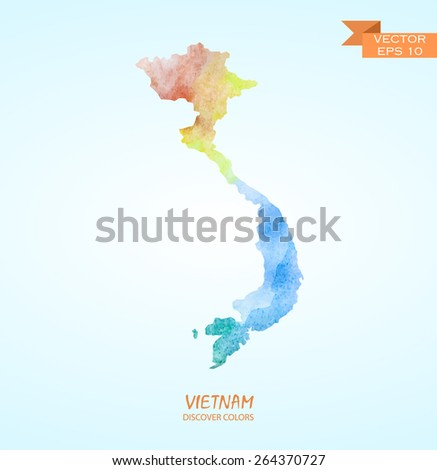 Hand Drawn Watercolor Map Vietnam Isolated Stock Vector Royalty