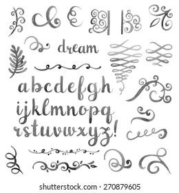 Hand drawn watercolor monochrome design elements. Elegant calligraphic flourishes and artistic font.