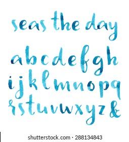 Hand drawn watercolor nautical font.