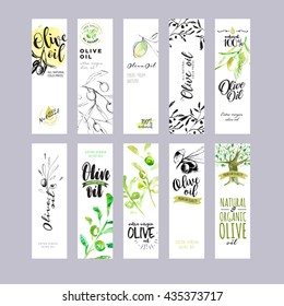 Hand drawn watercolor olive oil labels collection. Vector illustrations concepts for olive oil packaging.
