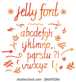 Hand drawn watercolor orange color calligraphic font and set of vignettes, arrows, strokes, question and exclamation marks your design. includes words jelly font