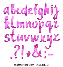 Hand drawn watercolor pink brush whiting alphabet, font, letters on white background