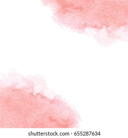 Hand drawn watercolor pink card texture isolated on the white background. Vector.