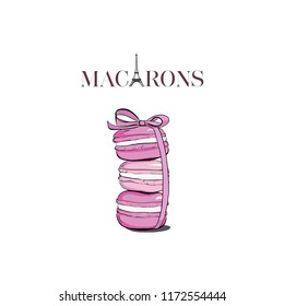 Hand drawn watercolor of pink macaron cakes, french pastry dessert. Macarons text with Eiffel Tower. Vector illustration, isolated on white background. Set off macaroons with ribbon bow.