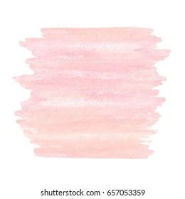 Hand drawn watercolor pink texture isolated on the white background. Vector.