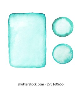 Hand drawn watercolor rectangle and circle shapes.