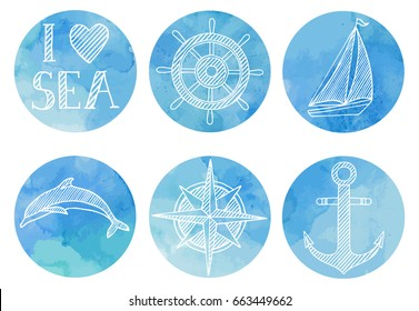 Hand drawn watercolor sea set with vector nautical icons.