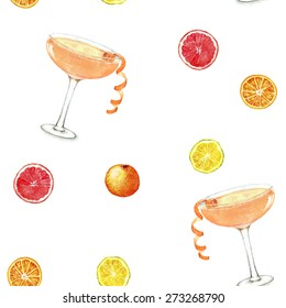 Hand drawn watercolor seamless pattern summer fresh cocktails and citruses. Isolated on the white background, in vector