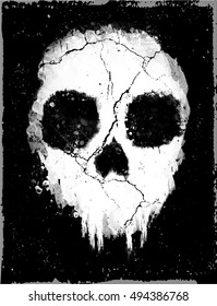 Hand Drawn Watercolor Skull In Black and White Grunge Gothic Punk Rock and Roll style Background. Vector Skull Illustration.