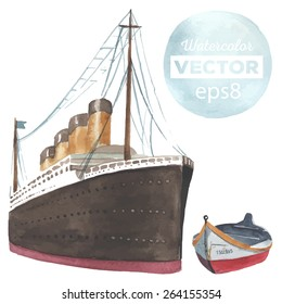 Hand drawn watercolor steamboat and row made in vector.