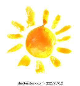 hand drawn watercolor sun icon