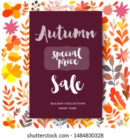 Hand drawn watercolor vector illustration. Autumn theme freeting card. Fall leaves. Perfect for wedding invitations, greeting cards, blogs, prints and more.