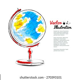 Hand drawn watercolor vector illustration of globe.