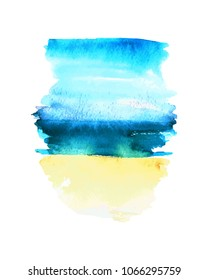 Hand drawn watercolor wash. Vertical stain in blue, green and yellow colors. For summer bacground and holiday design.
