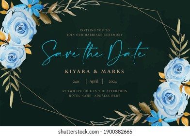 Hand drawn watercolor wedding card template (save the date, rsvp, thank you )