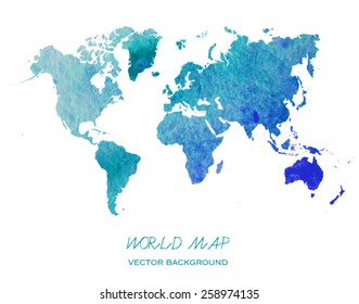 hand drawn watercolor world map isolated on white. Vector version