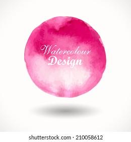 Hand drawn watercolour illustration.  Background. Pink watercolor circle. Design. Watercolor vector background for retro design