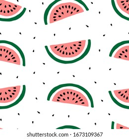 Hand drawn watermelon and seeds seamless pattern design. Perfect for wrapping paper, textile, modern wallpaper, backgrounds, invitations, packaging design projects. Surface pattern design.