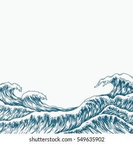 Hand drawn wave background. Vector illustration