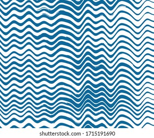 Hand drawn wave line pattern vector illustration