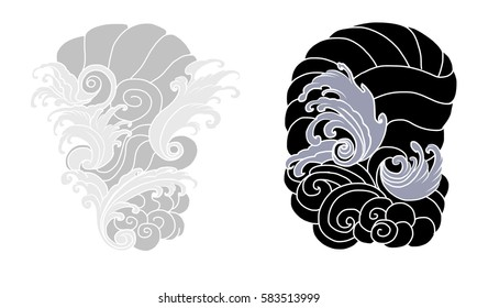 hand drawn wave for tattoo design,background for Japanese tattoo