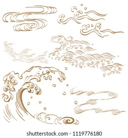 Hand drawn wave vector in Japanese style. Gold ocean icons.