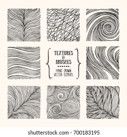 Hand drawn wavy linear textures made with ink. Artistic collection of graphic design elements: swirl, circle, wavy stripe, abstract line, organic background, geometric pattern. Isolated vector set.