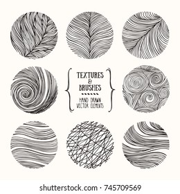 Hand drawn wavy linear textures made with ink. Artistic collection of graphic design elements: swirl, squiggle, wavy stripe, abstract line, organic background, geometric pattern. Isolated vector set.