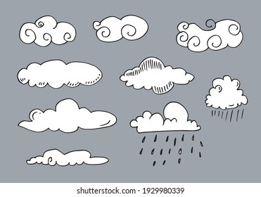 Hand drawn weather collection. Flat style vector illustration on gray background.
