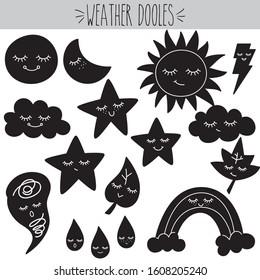 Hand Drawn Weather Kawaii Illustration, Star, Moon, Cloud, Sun, Raindrop, Rainbow, Lightning bolt, Maple leaf, Tornado, Sleepy face, Cute Characters,  Meteorology, Funny doodles, Black Silhouette