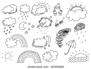 hand drawn weather set